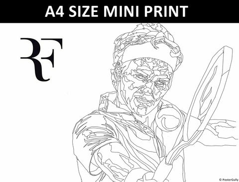 Mini Prints, Roger Federer Line Art | Mini Print, - PosterGully