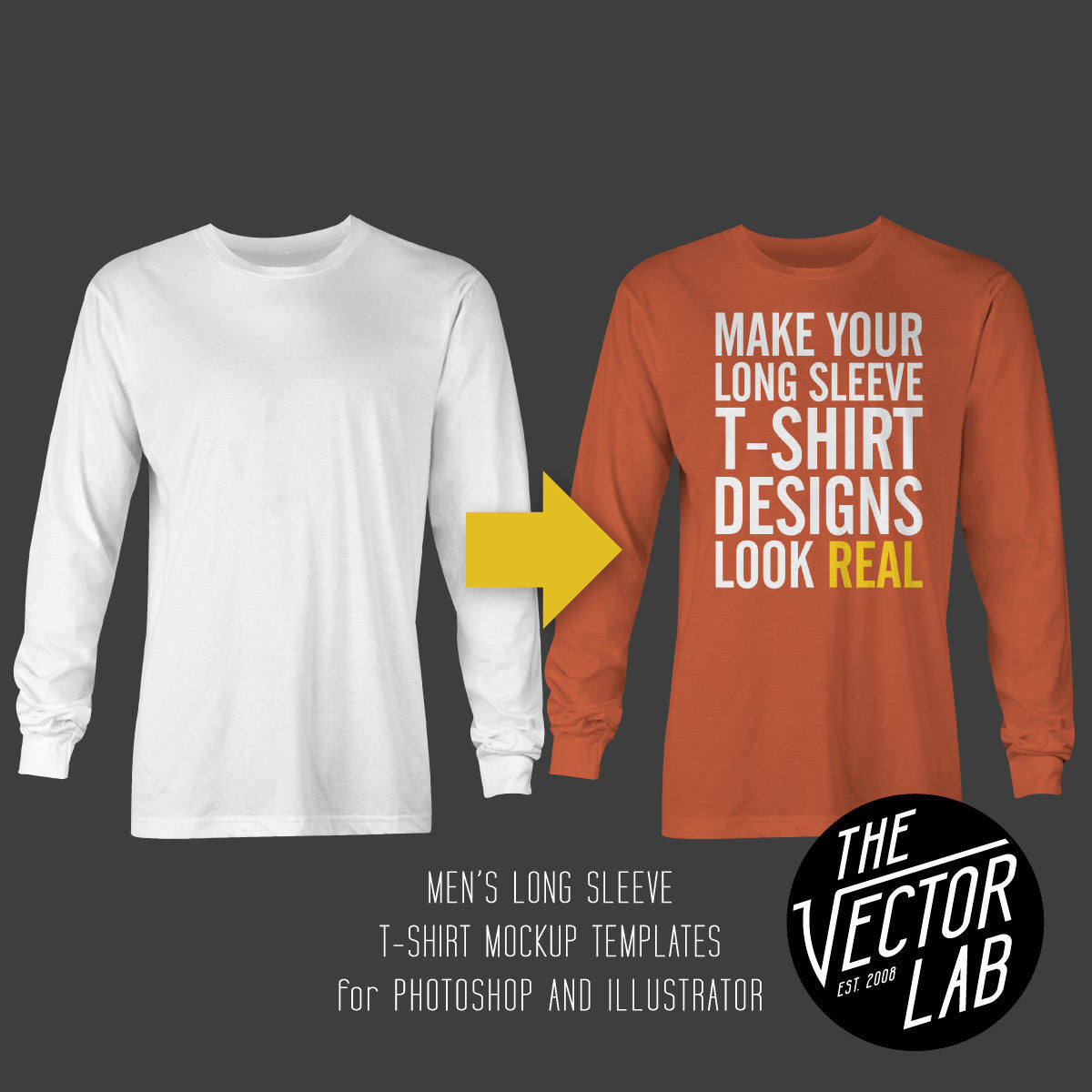 Men's Long Sleeve T-Shirt Mockup Templates for Photoshop and Illustrator