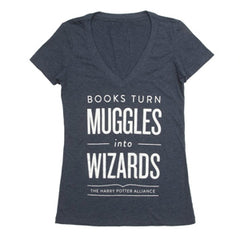 Books Turn Muggles Into Wizards T-Shirt - Women's - Calgary Public Library Store