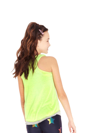 Girls Heathered Neon Green Tank by Terez
