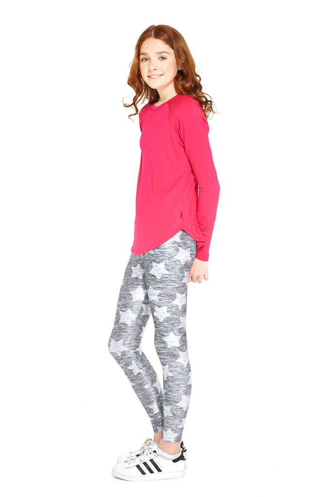 Girls Heathered Gray Stars Leggings by Terez