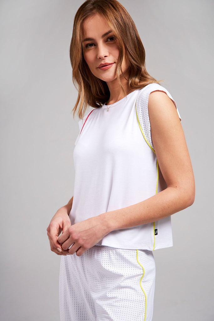 White Mesh Cap Sleeve Tee by Terez
