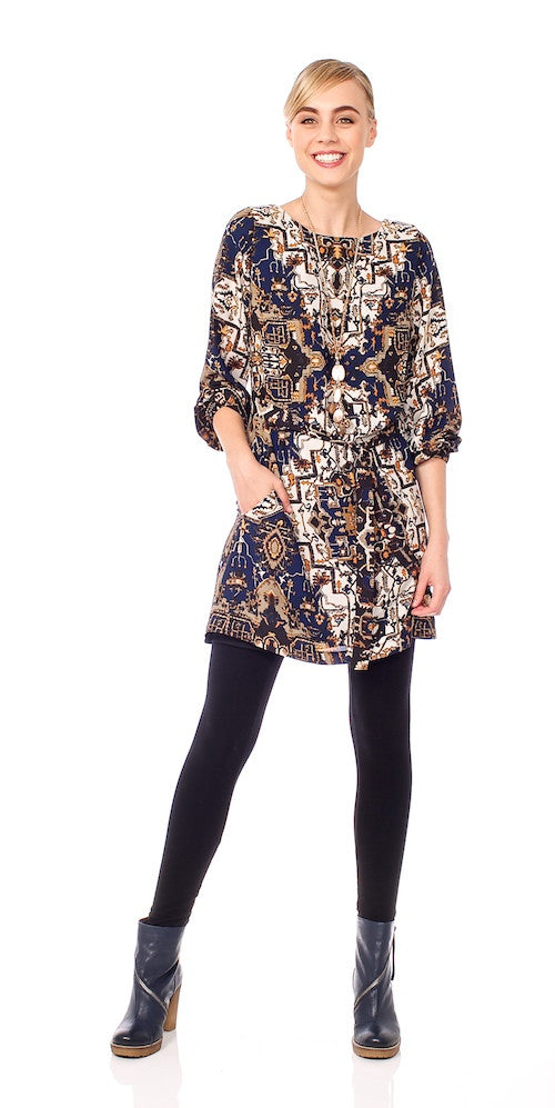 Elke Medallion Tunic, navy