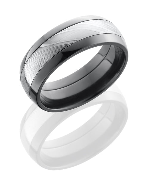 Zirconium 8mm Domed Band with Damascus Steel Inlay-Lashbrook-Howard's Diamond Center