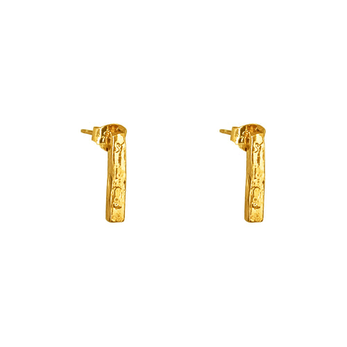 Rock Finders Keepers | Alexa Medium Hammered Bar Stud Earrings - Gold | VOULT.COM.AU