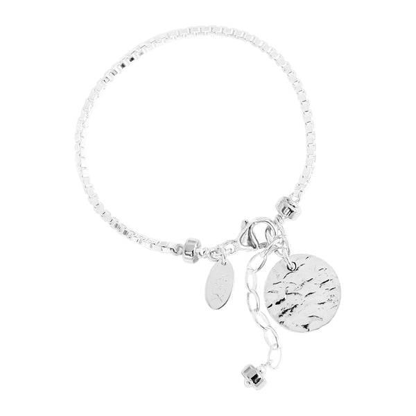 Rock Finders Keepers | Astra Box Chain Bracelet With Hammered Disc - Silver Disc And Detail | VOULT.COM.AU