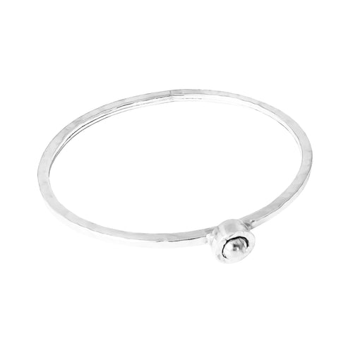 Rock Finders Keepers | Atticus Fine Feature Oval Hammered Bangle - Polished Silver Detail | VOULT.COM.AU