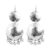 Rock Finders Keepers | Genevieve Double Disc Earrings | Silver With Polished Silver Drops | VOULT.COM.AU