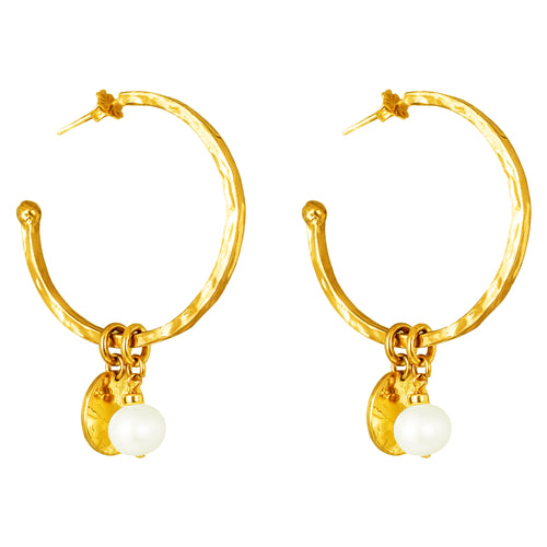 Rock Finders Keepers | Phoenix Large Hoop Earrings With Disc And Pearl | Gold | VOULT.COM.AU