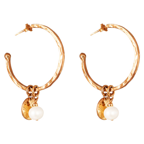 Rock Finders Keepers | Phoenix Large Hoop Earrings With Disc And Pearl | Rose | VOULT.COM.AU