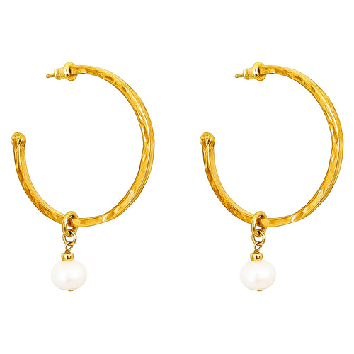 Rock Finders Keepers | Phoenix Large Hoop Earrings With Pearl | Gold | VOULT.COM.AU