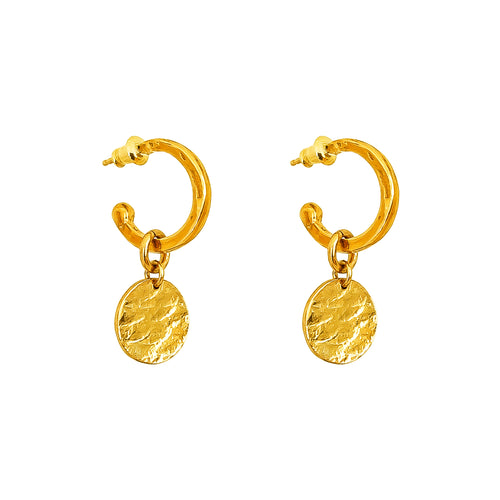 Rock Finders Keepers | Phoenix Small Hoop Earrings With Disc | Gold | VOULT.COM.AU