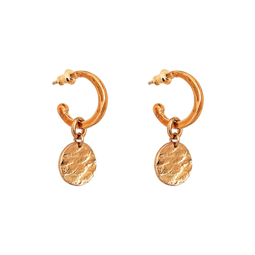 Rock Finders Keepers | Phoenix Small Hoop Earrings With Disc | Rose | VOULT.COM.AU