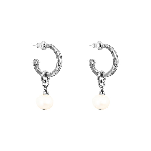 Rock Finders Keepers | Phoenix Small Hoop Earrings With Pearl | Silver | VOULT.COM.AU