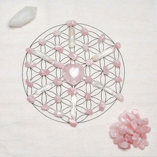 Rose Quartz Crystal Altar Grid - SweetWitch
