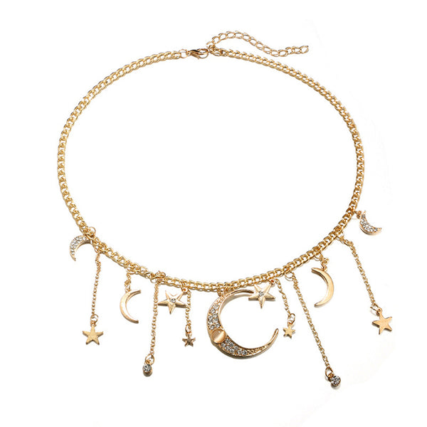 Rhinestone Moon & Star Tassel Charm Necklace - SweetWitch