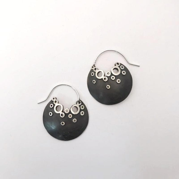 Large pocket of bubbles sterling silver earrings