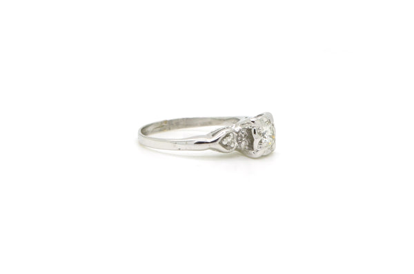 Vintage 14k White Gold Diamond Engagement/Promise Ring - .41 ct. total - Size 7