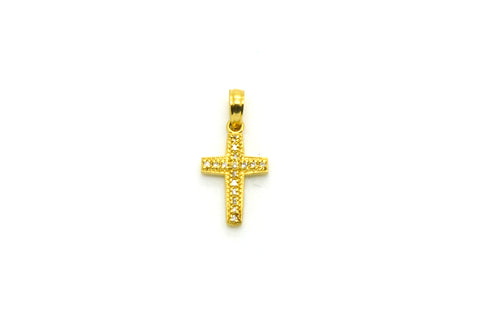 14k Yellow Gold Round Diamond Petite Cross Pendant 20 x 9.5 mm - .10 ct. total
