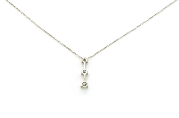 14k White Gold Three Round Diamond Journey Necklace - .75 ct. total - 16 in.