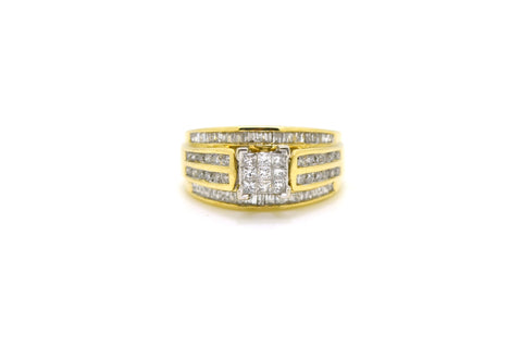 10k Yellow Gold Cluster Diamond Engagement Ring - 1.00 ct. total - Size 6.75