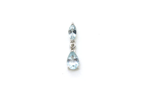 10k White Gold Drop Style Pendant with Blue Aquamarine & Diamond - 1.27 ct. tw