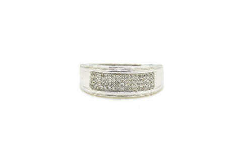 10k White Gold Diamond Pave Cluster Band Ring - .35 ct. total - Size 11.5