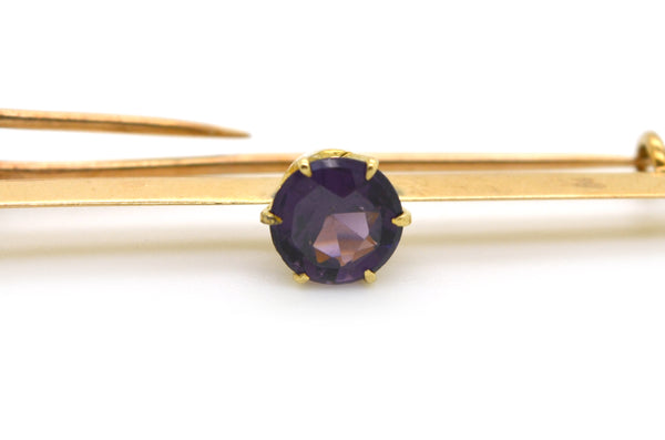 Vintage 10k Yellow Gold Pin Brooch with Round Purple Amethyst Stone - 1.00 ct.