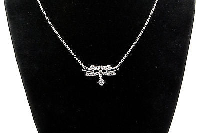 14k White Gold Round Diamond Cluster Pendant Necklace - .25 ct. H / I1 - 15 in.