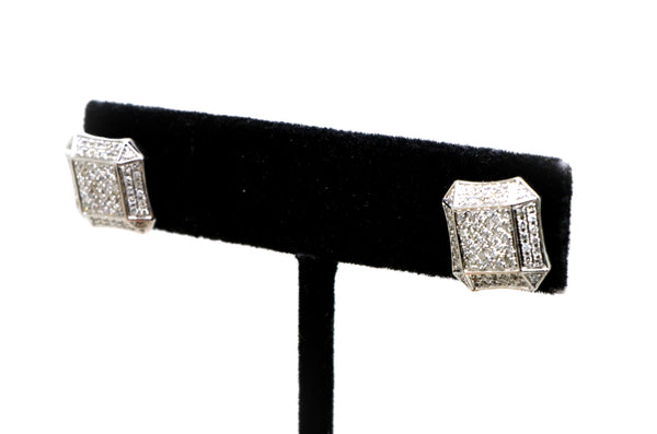 10k White Gold Pave Cluster Round Diamond Square Stud Earrings - .50 ct. total
