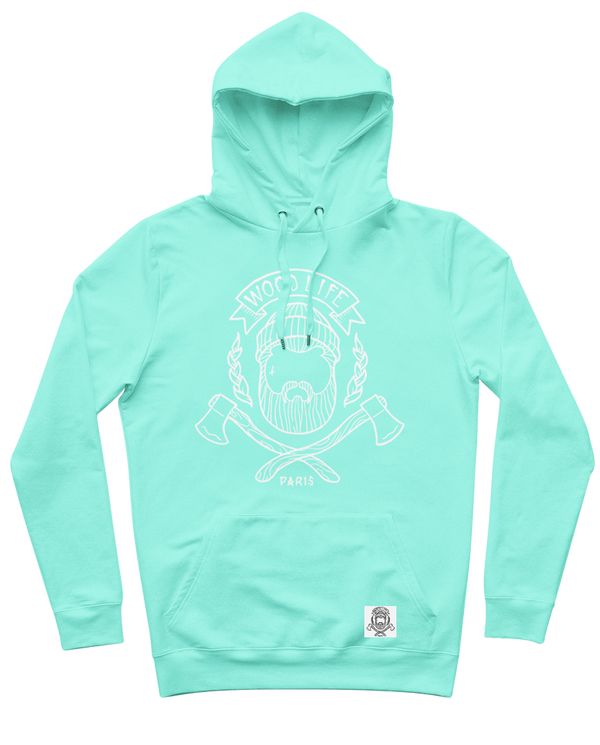 "Sweat capuche ""Woodlife"" - Vert Pastel/Blanc - Woodlife - Les Bûcherons"
