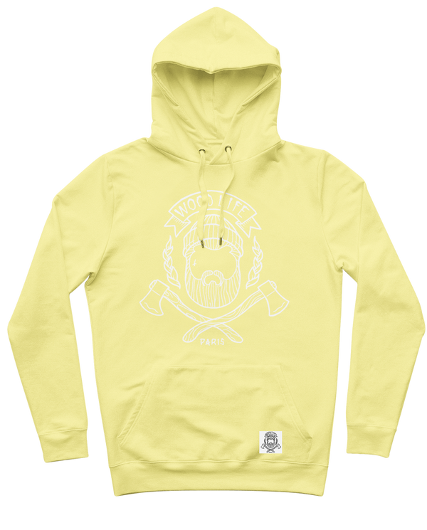 "Sweat capuche ""Woodlife"" - Jaune Sorbet/Blanc - Woodlife - Les Bûcherons"