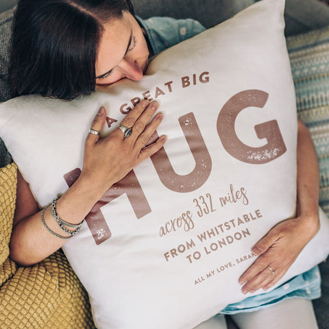 'A Hug Across the Miles' Personalised Locations Cushion