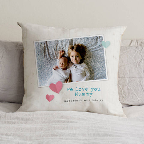 Personalised Vintage Photo Cushion With Words
