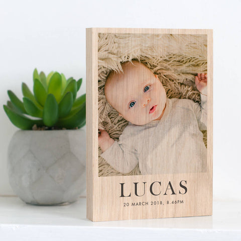 Personalised New Baby Solid Oak Wooden Photo Block