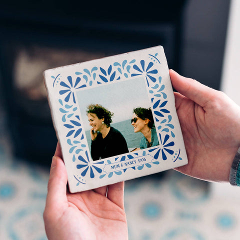 Personalised Portuguese Style Photo Tile With Text