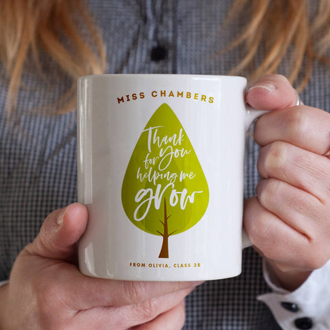 Personalised Thank You For Helping Me Grow Teacher Mug