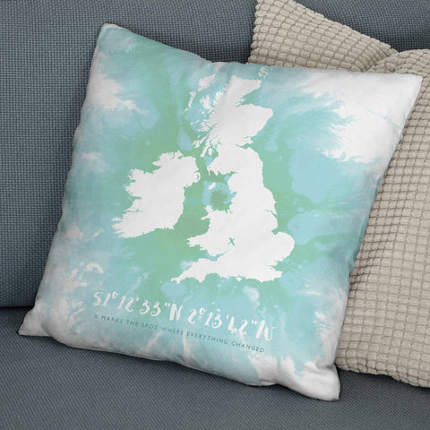 'X Marks The Spot' Personalised British Isles Cushion