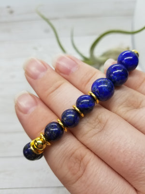 Lapis Lazuli Stacker Bracelet with Gold Accents