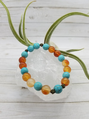 Carnelian & Turquoise Stacker Bracelet with Bronze Accents