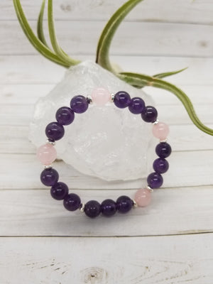 Amethyst & Rose Quartz Stacker Bracelet with Sterling Silver Accents
