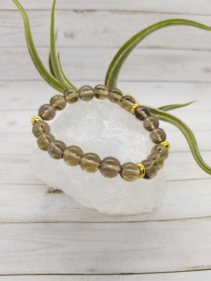 Smoky Quartz Stacker Bracelet with Gold Accents