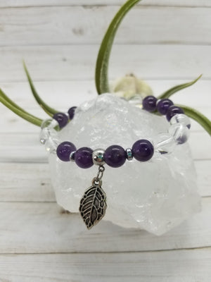 Amethyst & Clear Quartz Stacker Bracelet with Hematite & Sterling Silver Accents