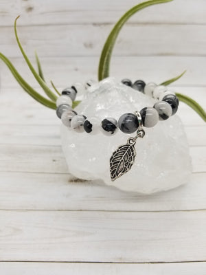 Tourmalated Quartz Stacker Bracelet with Silver Accents