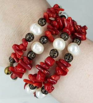 Coral, Freshwater Pearl Bracelet with Copper Accents.