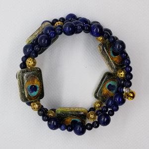 Lapis Lazuli and Ceramic Peacock Memory Wire Bracelet with Gold Accents