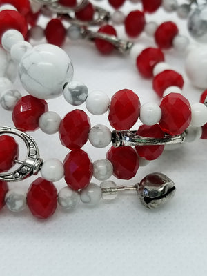 Howlite and Faceted Red Glass Memory Wire Bracelet with Silver Accents
