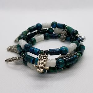 Chrysocolla & Moonstone Memory Wire Bracelet with Silver Accents
