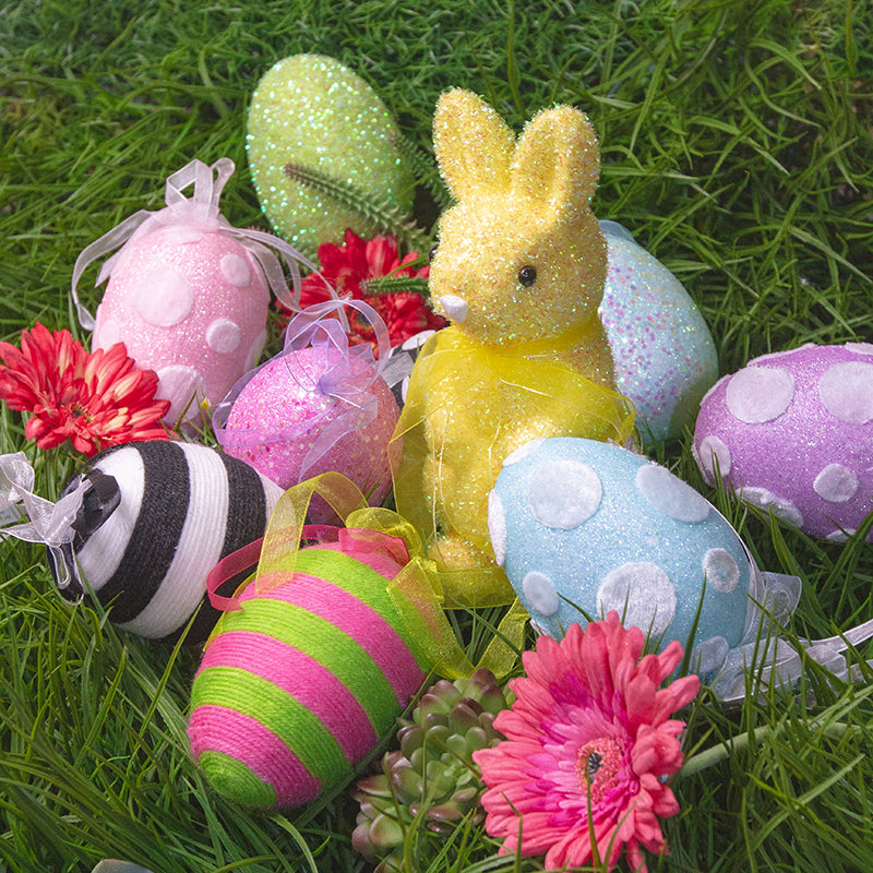 Easter egg ornaments and bunny