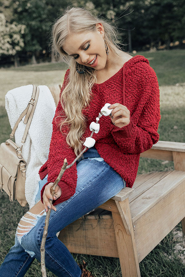 Warm Fuzzy Feelin' Sweater in Crimson